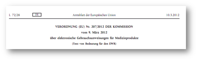 Richtlinie 207/2012: Elektronische Gebrauchsanweisung für Medizinprodukte