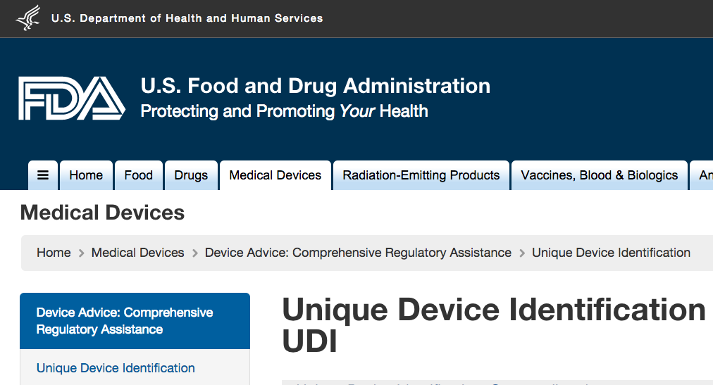 Unique Device Identification FDA
