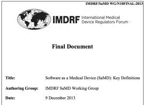 Software as Medical Device SaMD: Dokument des IMDRF