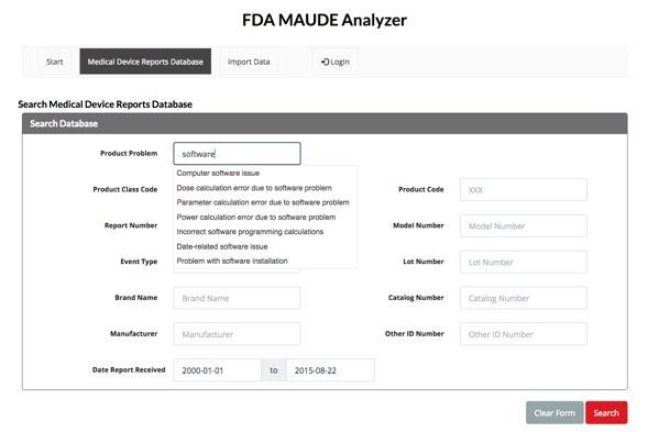 Mit dem FDA MAUDE Analyzer lassen sich die Daten etwas leichter durchsuchen, auswerten und herunterladen.