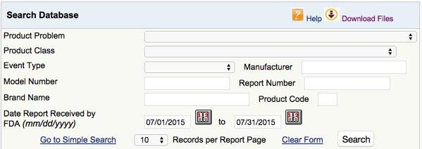 Suchmaske der FDA MAUDE Datenbank