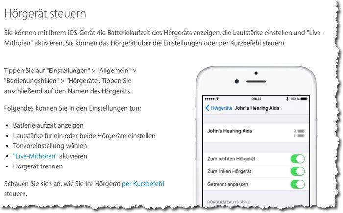 Abb: Apple erklärt, dass mit den iOS-Geräten Hörgeräte gesteuert werden können.