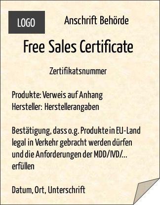 Muster für ein Free Sales Certificate, Verkehrsbescheinigung, Exportzertifikat, Freihandelszertifikat
