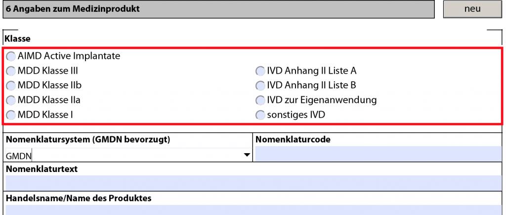 Screenshot BfArM: Das BfArM verlangt die Eingabe von UMDNS oder GMDN Codes