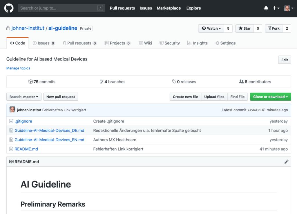 Screenshot vom KI-Leitfaden / AI Guideline: kostenfrei bei Gitlab verfügbar
