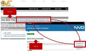 Verschiedene Datenbanken wie die NVD und CVE nutzen die CVE-IDs um gleiche Schwachstellen zu identifizieren. Beide Datenbanken referenzieren die jeweils anderen Einträge.