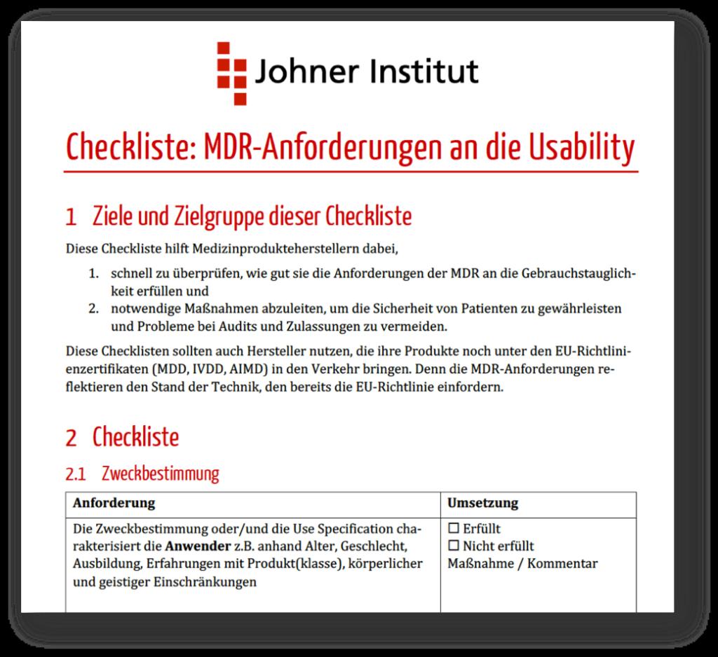 Screenshot der Checkliste zu den Anforderungen der MDR an die Gebrauchstauglichkeit (Usability)