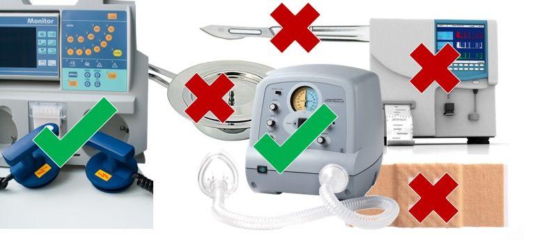 Beispiele für Medizinprodukte, die vor ihrer Verwendung aufbereitet werden müssen und unter den Anwendungsbereich der ISO 17664 fallen (grüner Haken) bzw. nicht fallen (rotes Kreuz)
