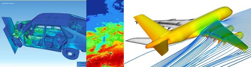 Drei Grafiken, die den Einsatz des Computer-based Modelings und der Simulation bei Crashtests, bei der Simulation des Wetters und bei Flugzeugen zeigen.
