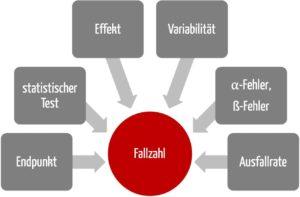 Grafik, die die sechs Faktoren zeigt, die bei der Fallzahlplanung die Fallzahlberechnung in klinischen Studien beinflussen
