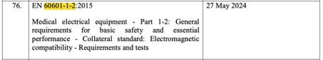 Der Harmonisierungsantrag nennt die alte EN 60601-1-2 aus dem Jahr 2015, nicht die aktuelle Version aus dem Jahr 2020.