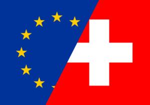Abbildung zeigt die Flaggen der EU und der Schweiz