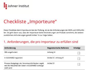 Screenshot der Checkliste für Importeure