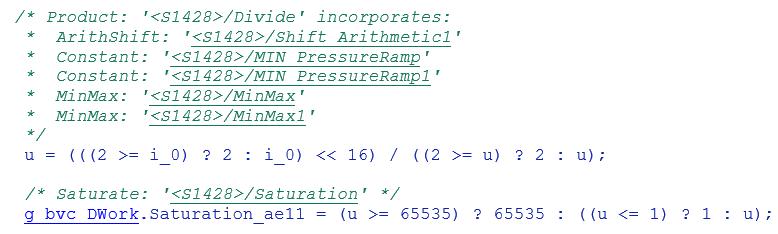Screenshot mit dem aus dem obigen Modell erzeugten Quell-Code